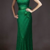 Green Plain Sashes Round Neck Party Lace Maxi Dress