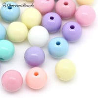 DoreenBeads Acrylic Spacer Beads Round Mixed at Random for DIY Jewelry Making 6mm Dia, Hole:Approx 1.5mm, 500PCs