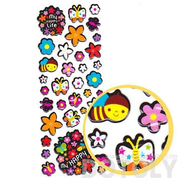 Colorful Flowers Bees and Butterflies Shaped Puffy Stickers for Kids | Insect Themed Scrapbook Decorating Supplies
