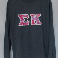 Gray Long Sleeve With Sigma Kappa Lilly Print on Glitter