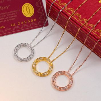 Cartier Diamonds Women Fashion Chain Necklace Jewelry