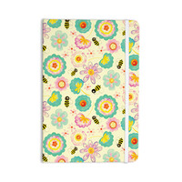 "Louise Machado ""Floral Bee"" Tan Teal Everything Notebook"