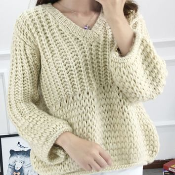 White V-neck Chunky Knit Sweater
