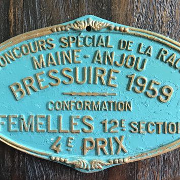 Vintage French Farmhouse Agriculture Plaque Cattle Competition 1959 French Farming History Bressuire