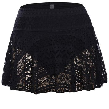 Black Crochet Lace Skirted Bikini Bottom