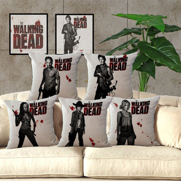 Walking Dead Cotton Linen Pillow 18 inches