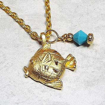 Fish Pendant Necklace Diamond Cut Gold Tone Plated Turquoise Blue Color Made with Vintage Pendant and Swarovski Crystal