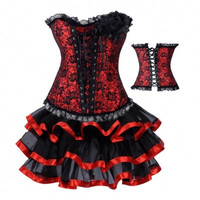 FREE SHIPPING Burlesque Costume Corset Dress & Skirt Fancy Dress Costume Outfit
