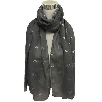 Free shipping ! Fashion deer head with silver foil print Scarf
