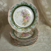 Antique CT Germany Bread Plates, Set of Eight Forest Green, Rose Pink Border, Gold Floral Overlay, 1875-1900