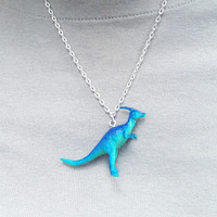 Blue Dinosaur Necklace  Fun Dinosaur Necklace Awesome Necklace