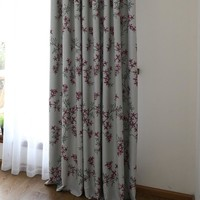 Ready made flower blackout window curtains & drapes for bedroom