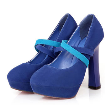 High Thick Heel Shoes Slim Night Club Platform Fluff Women Thin Shoes  blue