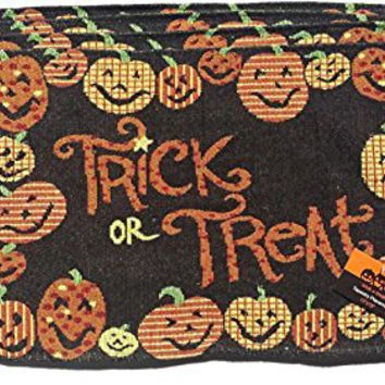 Set of 4 Halloween Treat Pumpkin Border Tapestry Place Mats Fall
