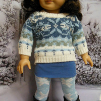 "American girl doll clothes ""Blue Chill""  18 inch doll outfit  winter sweater leggings  headband OOAK"