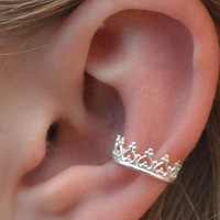 Ear Cuff  - Princess  Crown - Sterling Silver - SINGLE
