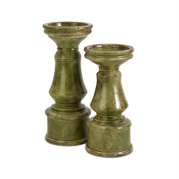 2 Candle Holders - Olive Green Distressed