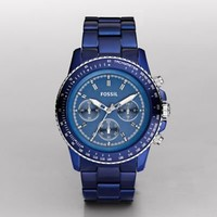 FOSSIL Watch Collections Stella:Womens Stella Large Aluminum Watch - Blue CH2710