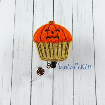 Fall Badge Reel, Pumpkin Jack-O-Lantern Feltie Retractable Badge Reel, Halloween badge reel, retractable badge holder, badge clip