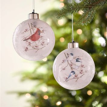Lighted Glass Songbird Ornaments, Set of 2 | Indoor Holiday Decorations