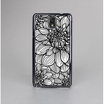 The White and Black Flower Illustration Skin-Sert Case for the Samsung Galaxy Note 3