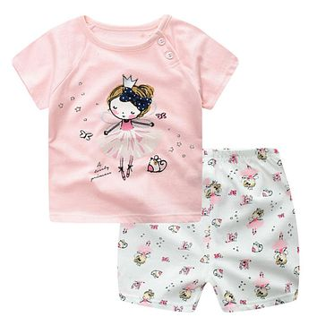 Dancing Girl Printed Baby Girl Boy Clothing Set Infant Angel Princess Cartoon Animal Kids Clothes Casual Cotton Sets