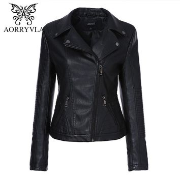 AORRYVLA New Women Faux Leather Jacket Fashion Black Color Turn-Down Collar Zippers Short Ladies PU Leather Jacket