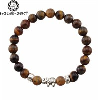 Natural Antique Lave Stone Beads Bracelet Black Brown  Alloy Lucky Elephant Bracelets Women Men Charms Jewelry