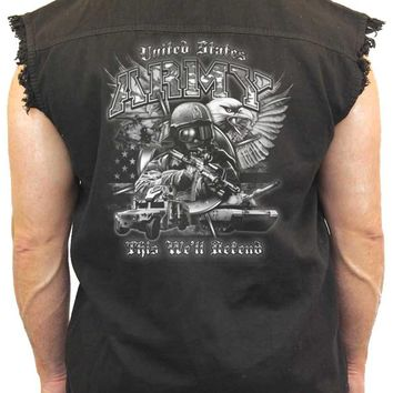 Men's Sleeveless Denim Shirt United States Army This We'll Defend Biker