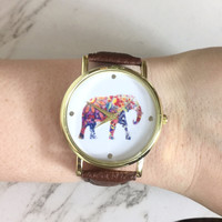 Brown Elephant Vegan Leather Watch