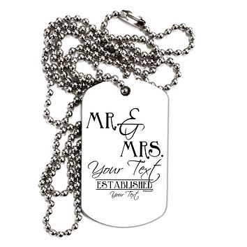 Personalized Mr and Mrs -Name- Established -Date- Design Adult Dog Tag Chain Necklace