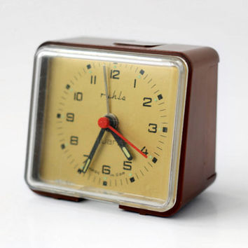Vintage RUHLA Quartz Alarm Clock // Made in East Germany GDR // Brown Space Age East German Alarm Clock - 70s