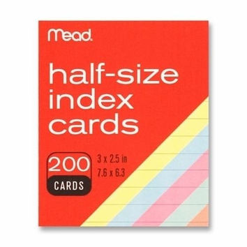 """Mead Index Cards, Half-size, 3""""x2-1/2"""", 200/PK, Assorted"""