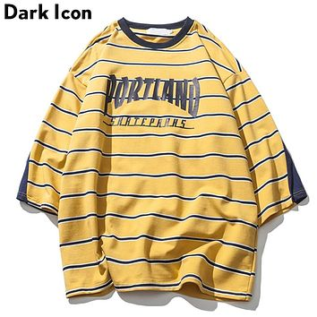 Letter Printed Striped Over sized T shirts Men Three Quaker Sleeve Tee Shirts Spring Loose Style Men's T-shirt Blue