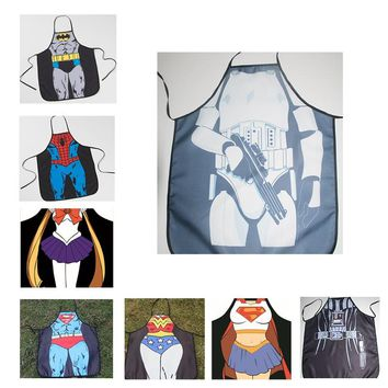 Movie Wonder Woman Batman Captain America Cosplay Costumes Superman Cos Apron Cartoon Fancy Sexy  Funny Cooking Kitchen Apron