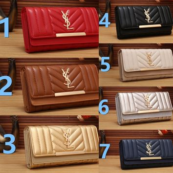 Best Deal Online YSL Yves Saint laurent Womens Wallet Faux Leather RFID Blocking Purse Credit Card Clutch 303