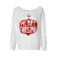 Vintage Merry Christmas Bulb Wideneck Sweatshirt