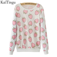KaiTingu 2016 New Fashion Autumn Women Long Sleeve Tracksuit Hoodies Cute Funny Pink Strawberry Print Casual Pullover Sweatshirt