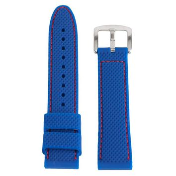 18mm/20mm/22mm/24mm Black/Blue Wristwatch Strap Bracelet Silicone Band Sport Diving Waterproof Watch Tool Adjustable Replacement