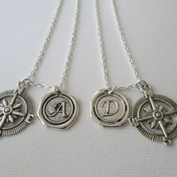 2 Script Initial and Open Compass Necklaces- Best Friends, Relationship jewelry, Couples Necklace, Boyfriend Girlfriend Necklace