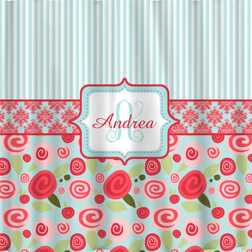 NEW!! Modern Shabby Chic Rose Collection Personalized Shower Curtain-Stripes, Damask & Floral Combo - Aqua and Red Shades
