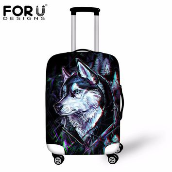 FORUDESIGNS Newest  3D Wolf Animal Travel Luggage Cover Elastic Suitcase Trunk Covers For 18 20 22 24 26 30 Inch Travel Cases