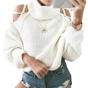 Turtleneck Lace Up Sweaters Solid Cold Shoulder Casual Sweater Women Pullovers Knitted Sweater Jumper