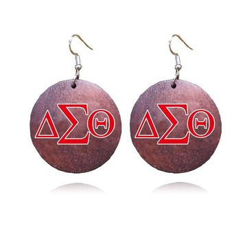 African Natural wooden Delta Sigma Theta  Earrings