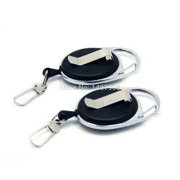DCCK7N3 SAMS Fly Fishing Zinger Retractor Stopper Tool Holder Clip on Tether Retractable Reel Badge Holder Key Chain Nylon Cord 2pcs
