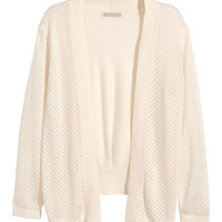 H&M - Perforated-knit Cardigan - Natural white - Ladies