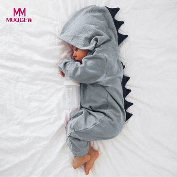 MUQGEW Newborn Infant Baby Boy Girl Dinosaur Hooded Romper Jumpsuit Outfits Clothes Kawaii Solid Clothing jumpsuit For Unisex
