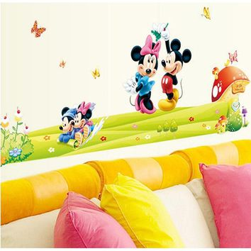 Modern creative Minnie Mickey mouse wall art stickers home decoration gift stickers DIY animal cartoon nursery child room sticke