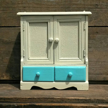 Hanging Key Rack Creamy White Aqua Key Hook House Compartment Door Wall Shelf Small Drawers Home Decor Country Entryway Foyer Shabby Chic