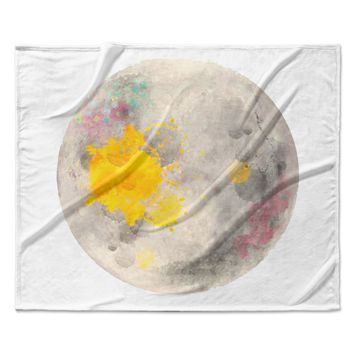"Oriana Cordero  ""Moonlight"" Gray Yellow Fleece Throw Blanket"